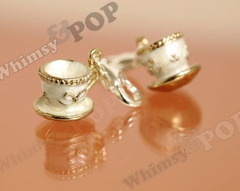 1 - 3D Gold Tone Tea Party Teacup Tea Cup Teatime Tea Time Charm, Teacup Charm, Mug Charm, 15mm x 12mm (5-3I)