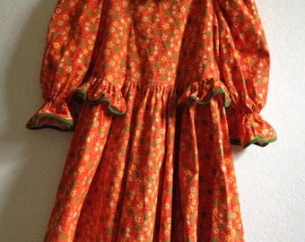 Little Girls Vintage Dress In The Color Of Orange Adorned With Green And Yellow Flowers ~ Fall Dress ~ Size 5/6