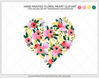 Watercolor Floral Heart Clip Art, Watercolor Flowers Heart Clipart, Digital Watercolor, Pink and Red Valentine Clip Art, Valentine Clipart