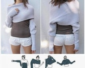Merino Wool Long Sleeve Sweater Scarf Shrug