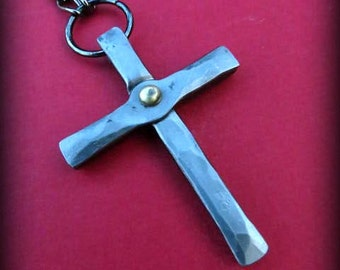 FORGED CROSS PENDANT Necklace - Hand Forged by Blacksmith Naz - Iron Cross with Brass Rivet