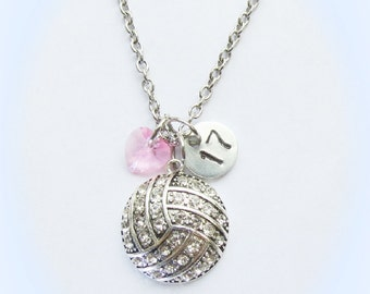 Personalized Volleyball Necklace with Number or Initial Charm Light Rose Pink Crystal Heart