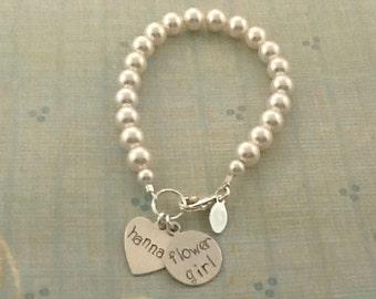Flower Girl Bracelet, Personalized Swarovski Pearl bracelet, wedding jewelry, flower girl jewelry