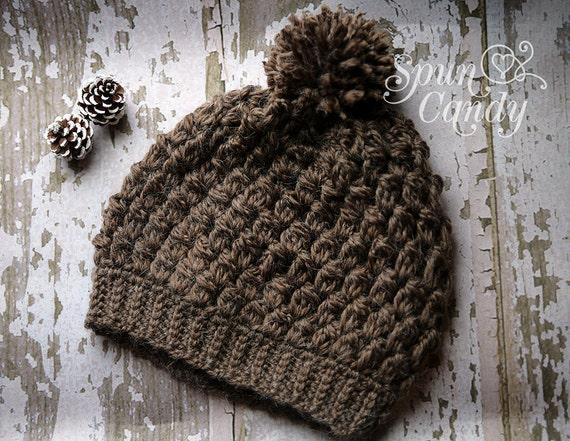 Puffy Stitch Crochet Hat, Crochet Hat, Pom Pom Hat, Teen Accessory, Fall & Winter Hat, Chocolate Truffle Hat, SpunCandy Hat