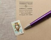 Self Inking Return Address Stamp ART DECO Design Interchangeable custom stamp - personalized wedding stamp