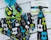 Baby Boys First Birthday Outfit Photo Cake Smash Outfit in Teal Lime Gray Black Groovy Guitar Print