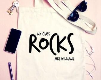 Personalised Teachers My class rocks Tote Shoulder Bag