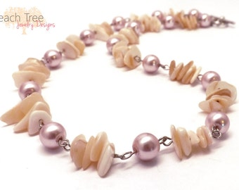 Beaded Necklace, Glass Necklace, Mother of Pearl Necklace, Shell Necklace, Metallic Pink, White