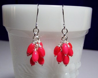 Hot Pink Orange Catseye Cluster Drop Earrings, Mom Sister Grandmother Jewelry Gift, Christmas Gift, Pretty