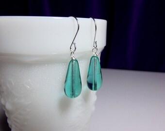 Aqua Green Glass Drop Earrings, Mothers Day Gift, Bridesmaid Wedding Mom Sister Girlfriend Jewelry Gift