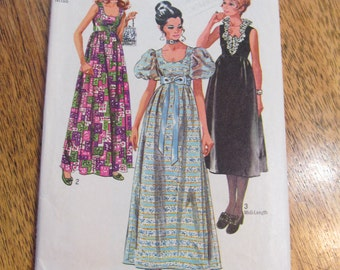 """VINTAGE Elegant Empire Line Evening Dress with Puff Sleeves, Low Scoop Neckline - Size 10 (Bust 32.5"""")- Vintage Sewn Pattern Simplicity 9025"""