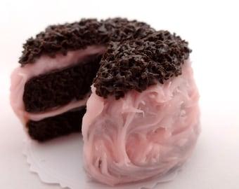 Handmade Miniature Dollhouse Cake ~ Dark Chocolate Pink Lemonade