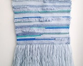 SALE--Blue Waves Woven Wall Hanging Hand dyed Wool
