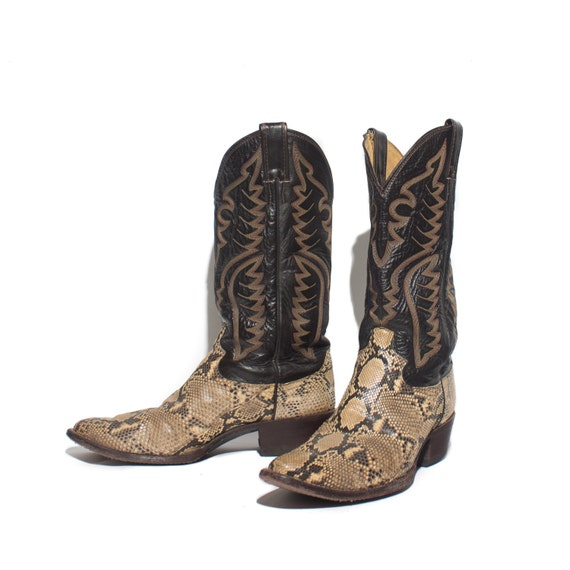 9 d justin snakeskin cowboy boots w brown leather