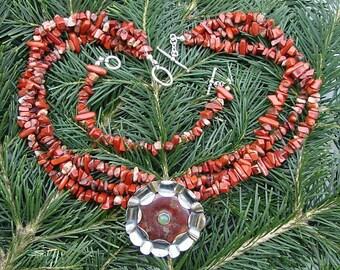"""Jasper / Opal / Sterling Silver Necklace : """" Mandala """""""