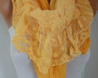 Yellow Ombre Scarf,Birthday Gift, Wedding Scarf, Easter Gift,Oversized Wrap, Lace Shawl, Gift Ideas for Her, Women Fashion Accessories