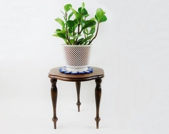 Mid Century German Wooden Tripod Plant Table
