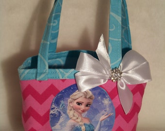 Elsa Frozen Reversible Purse / Anna / Olaf / Disney / Frozen Sisters / Bling Bow /Baby /Girl / Toddler / Handmade / Custom Boutique Clothing