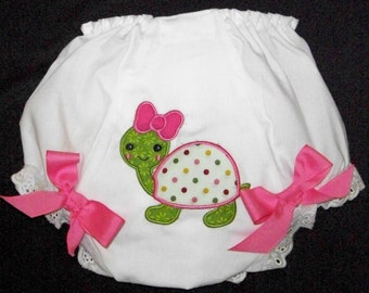 Turtle Diaper Cover / Bloomers / Precious / Pink / Double Seat/ Birthday/ Newborn/ Infant / Baby / Toddler / Girl / Custom Boutique Clothing