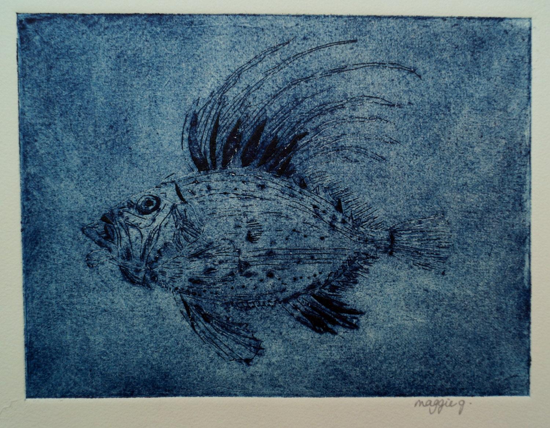 Fish collagraph big blue fish picture deep sea fish print for Big fish printing