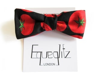 Pop art style tomato print batwing cotton bow tie, red on black