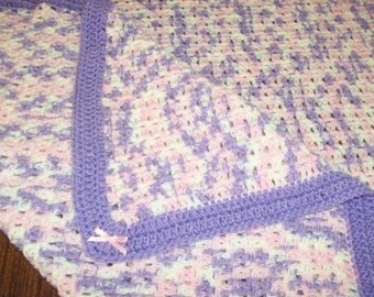 Pink, White, Lavender Baby Blanket with Optional Matching Bunny and/or Hat and Bootie Set