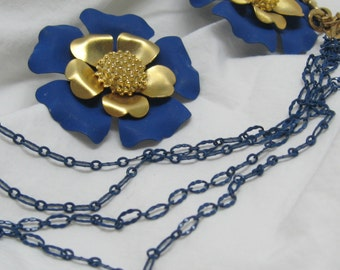 Vintage Huge Blue Velvet y and Gold Wild Rose Pierced Earrings and Blue Enamel And Gold Chain Multi Strand Necklace to Blow Your Blues Away