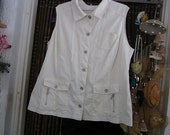 Ivory White Sports Utility Cotton Vest / Sleeveless Jacket, Vintage - Large