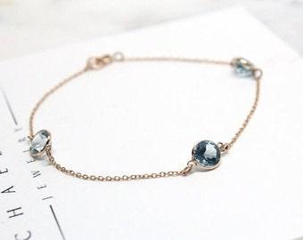 Mother's Day Birthstone Bracelet - Gemstones by the Yard - Solid 14k Gold