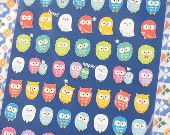 Lovely Colorful Owl Sticker - 1 Sheet