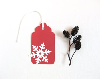 Snowflake Tags, Christmas, Holiday, Prestrung, Gift Tags, Party Favor Tags, Red, White, Winter, Set of 6