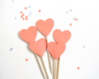 24 Coral Heart Cupcake Toppers, Party Decor, Double-Sided, Weddings, Showers, Spring, Summer, Love