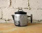 Vintage Metal Kettle, Drip-O-lator, Aluminum Tea Kettle with Wood Handle and Enamelware Lid, Shabby Rustic Eclectic Kitchen Decor