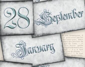 Eternal Calendar Labels printable paper crafting scrapbooking journaling instant download digital collage sheet - VDLAVI1007
