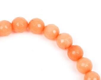 6mm Round Faceted Light PEACH Tangerine Jade Gemstone Beads, full strand gjd0084