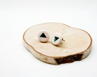 Geometric stud earrings, Ceramic earrings, Round modern earrings, Ceramic jewellery,  Ceramic earring stud, Ceramics and pottery
