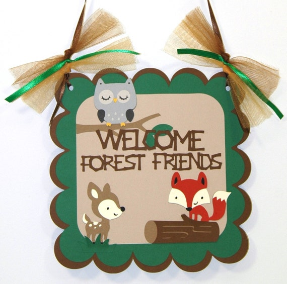 Nature Themed Baby Shower: Door Sign Woodland Animal Natural Colored Themed Birthday