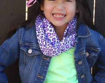 Girls Infinity Scarf in Purple and Pink Cheetah Animal Print Cotton Jersey Knit to Match Doll Scarf