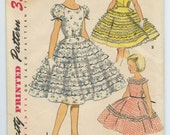 1950s Simplicity 4984 Girls Sundress Party Dress Full Circle Skirt Breast 25 Vintage Sewing Pattern