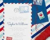 Vintage Airmail Letter DIY Printable Wedding Invitation