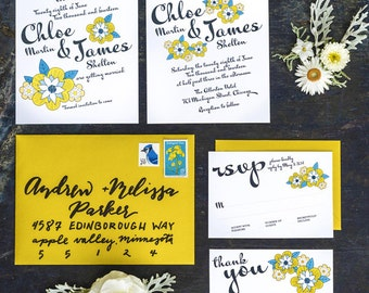 Set of 4 Cards, Yellow Daisy Wedding Invitation Printable Template