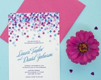Blue Confetti Wedding Invitation Printable