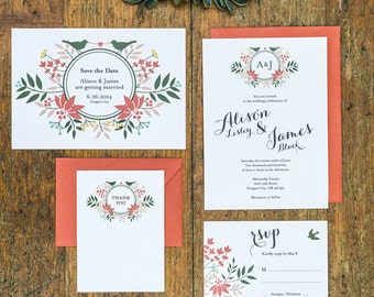 Floral Wreath Love Birds Wedding Invitation Set of 4 Printable