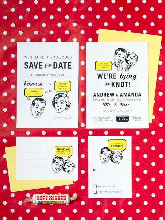 50's Retro No. 2 Unusual Wedding Set of 4 Printable