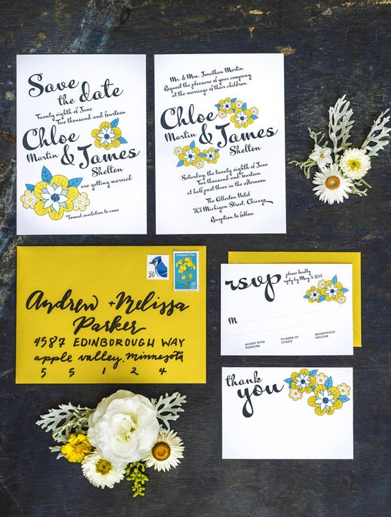 Set of 4 Cards, Yellow Daisy Wedding Invitation Printable Template