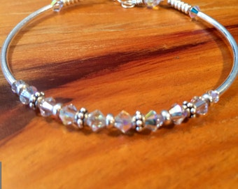 Valentine Sterling Silver and Swarovski crystal beaded bangle bracelet