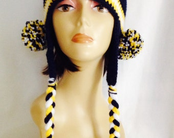 "ear flap hat, ear flap beanie, beanie with pom poms & braids, navy blue yellow and white, hand crochet, unisex fits teens and adults 20""-23"""