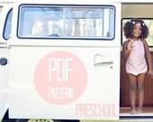 ROMPER PATTERN Halter Bow Romper Sun Suit in Girls Preschool Sizes 4T, 5 and 6 Easy Sewing Pattern