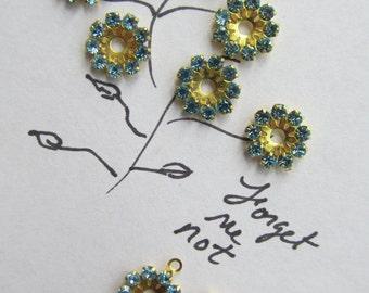 Vintage Swarovski Aqua Crystal Flowers
