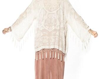 SALE 20% OFF // White Magic Medallion Velvet Burnout Tassel Kimono